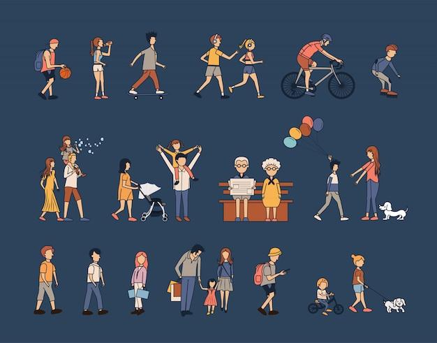 Leutegruppen-tätigkeitslebensstil mit glücklicher familie Premium Vektoren