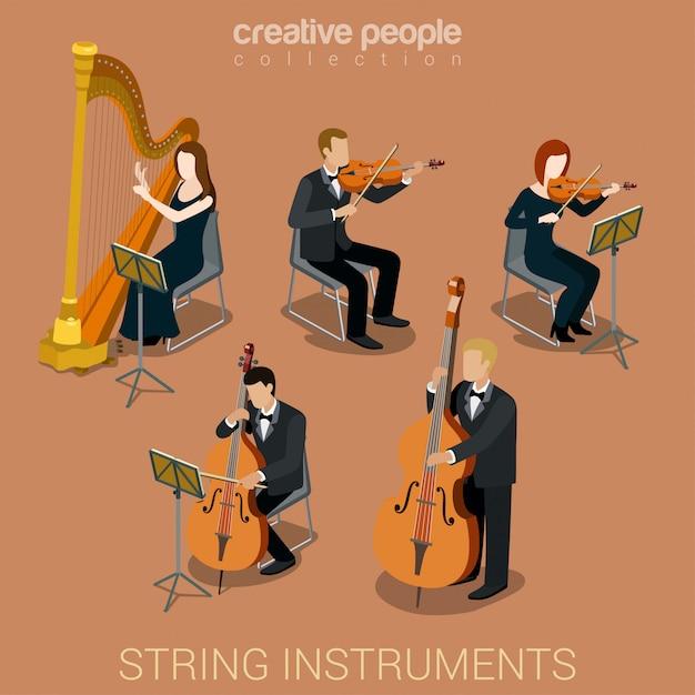 Leutemusiker, die auf den isometrischen vektorillustrationen der aufgereihten musikinstrumente eingestellt spielen. Kostenlosen Vektoren