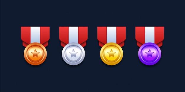 Level-medaillen gesetzt Premium Vektoren