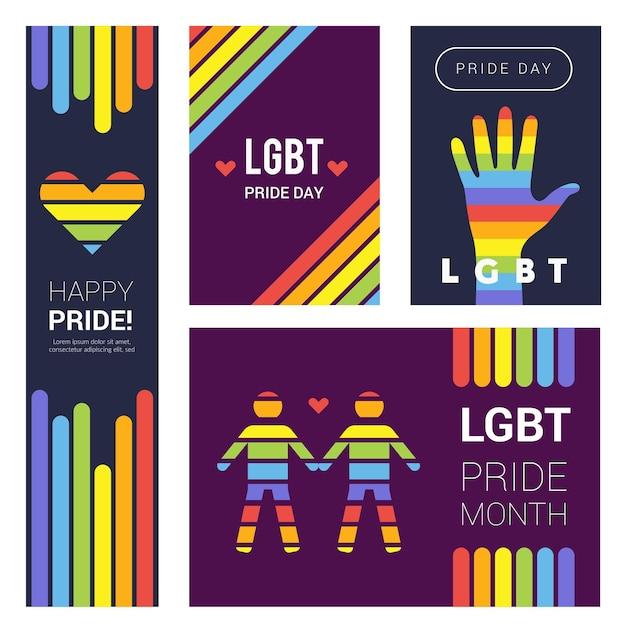 Lgbt banner. stolz regenbogenfarbene hintergründe für unterstützende lgbt feiernde sammlung. Premium Vektoren