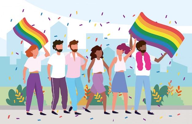 Lgbt-community mit regenbogenfahne und stolz Premium Vektoren