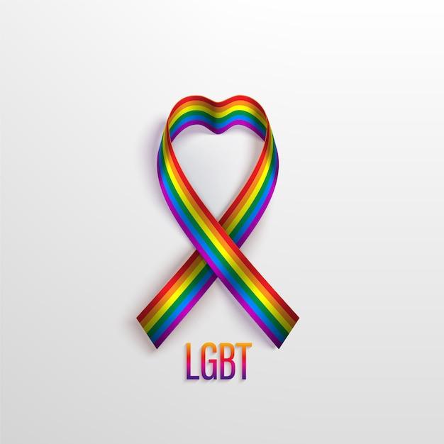 Lgbt-konzept mit regenbogenband, symbol der lgbt-gemeinschaft. anerkennung von lgbt, gleichstellung und vielfalt von menschen. Premium Vektoren