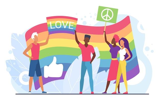 Lgbt-liebeskonzept mit menschen, die regenbogenfahnen halten Premium Vektoren