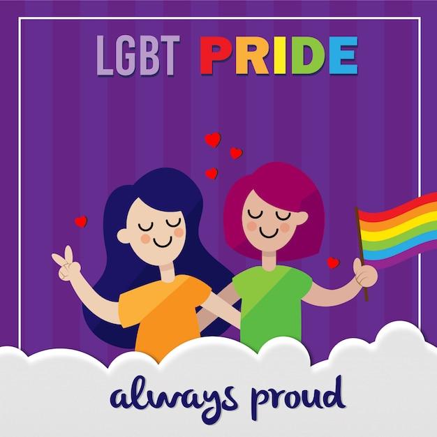Lgbt pride couple immer stolz Premium Vektoren
