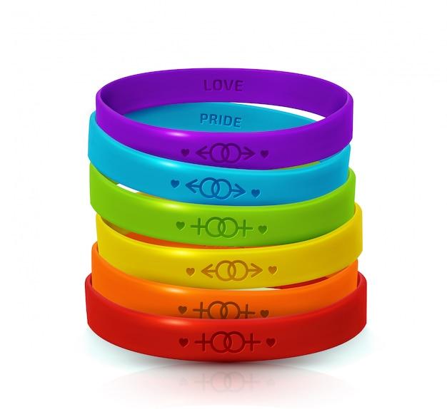Lgbt-pride-konzept. regenbogen-gummiarmbänder für lesben und schwule. tag der bisexualität und internationales plakat zum tag der toleranz Premium Vektoren