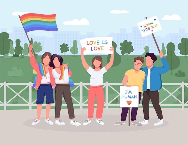 Lgbt soziale bewegung flache farbe. schwule und lesben sind gleichberechtigt. geschlechtsidentität. gleichgeschlechtliche paare. gesichtslose zeichen der 2d-karikatur mit grüner landschaft auf hintergrund Premium Vektoren