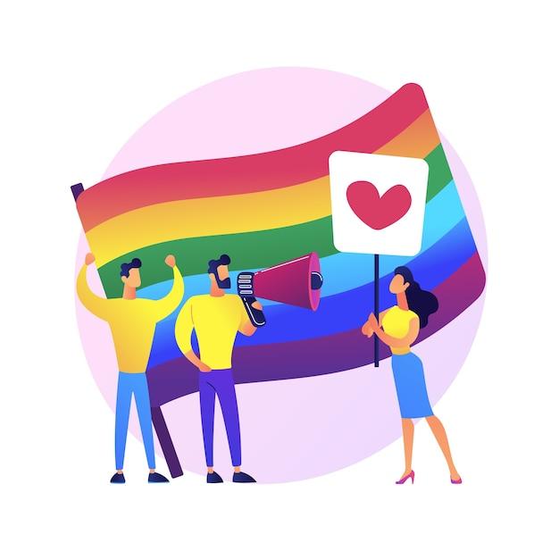 Lgbt-stolz. homosexuelle gleichheit. lesben, schwule, bisexuelle, transgender. homosexuelle menschen mit bunten regenbogenfahnen streikposten. lgbt-rechte-bewegung. Kostenlosen Vektoren