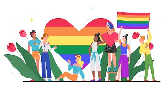 Lgbt-stolzmonatskonzeptillustration. karikatur junge gruppe von liebhaber menschen, die zusammen stehen, winken, regenbogenherz und lgbt-flagge in händen halten, homosexuelle regenbogenliebe lokalisiert auf weiß Premium Vektoren