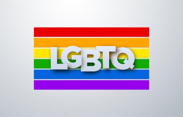 Lgbtq-papierzeichen auf regenbogenfahnenhintergrund. illustration. menschenrechts- oder diversitätskonzept. lgbt event banner design. Premium Vektoren