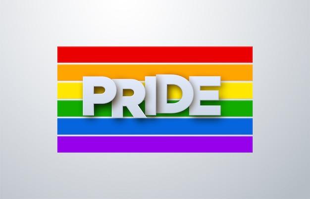 Lgbtq pride month. illustration. weißes papieretikett auf regenbogenfahnenhintergrund. menschenrechts- oder diversitätskonzept. lgbt event banner design. Premium Vektoren