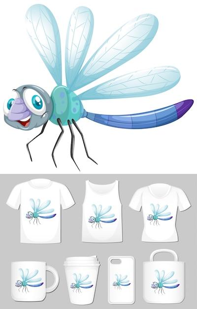 Libelle auf verschiedenen produktvorlagen Kostenlosen Vektoren