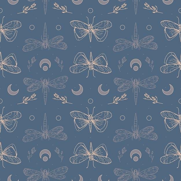 Libellen und motten. halloween magische nahtlose muster Premium Vektoren