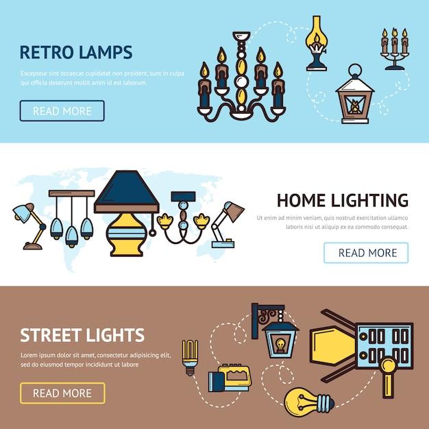 Licht banner gesetzt Premium Vektoren
