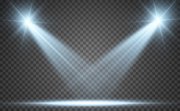 Licht mit funkeln auf transparentem hintergrund. Premium Vektoren