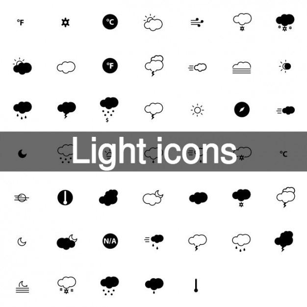 Licht Symbole in Schwarz und Weiß | Download der kostenlosen Vektor