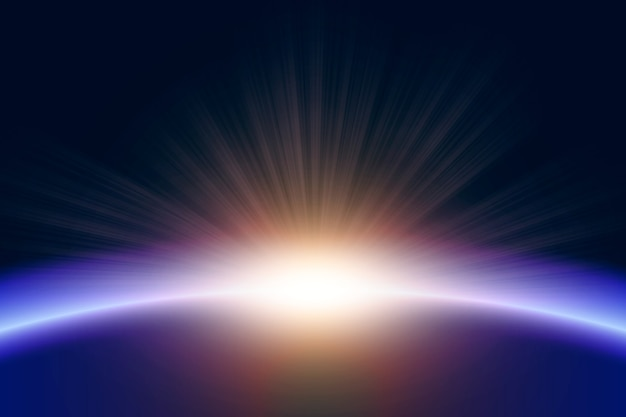 Lichteffekt des glühenden erdsonnenaufgangs Kostenlosen Vektoren