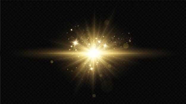 Lichteffekt. heller stern. licht explodiert auf einem transparenten hintergrund. helle sonne. Premium Vektoren