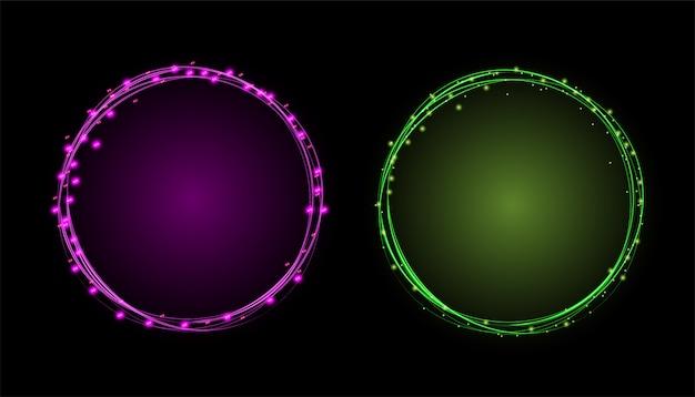 Lichteffekt-kreisrahmen Premium Vektoren