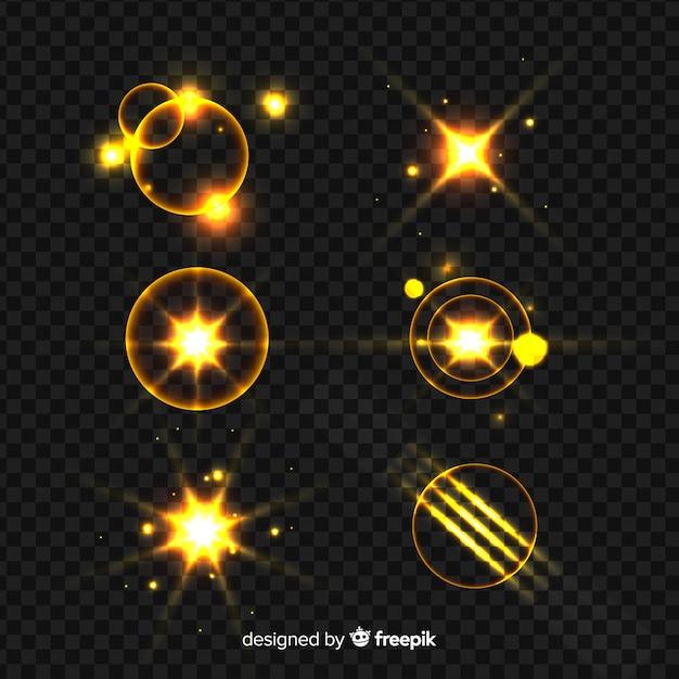 Lichteffektsammlung des goldenen glanzes Kostenlosen Vektoren