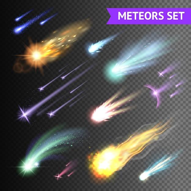 Lichteffektsammlung mit kometenmeteoren und feuerbällen lokalisiert auf transparentem hintergrund Kostenlosen Vektoren
