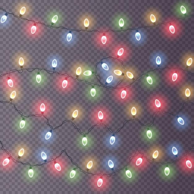 Lichter, dekorationen, girlanden lokalisiert auf einem transparenten hintergrund. leuchtende lichter. Premium Vektoren