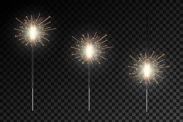 Lichtfunken des weihnachtsbengal-feuerglühens Premium Vektoren