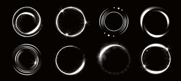 Lichtkreise mit funkeln, magischer glüheffekt. Kostenlosen Vektoren