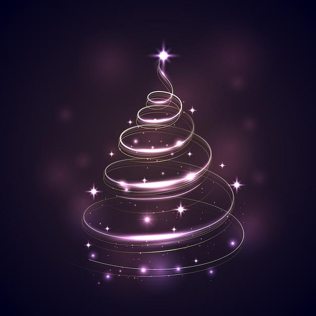 Lichtspur weihnachtsbaum Premium Vektoren