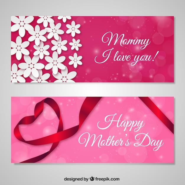 Liebe banner glücklich mütter tag Premium Vektoren