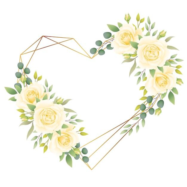 Liebe blumenrahmen hintergrund mit weißen rosen Premium Vektoren