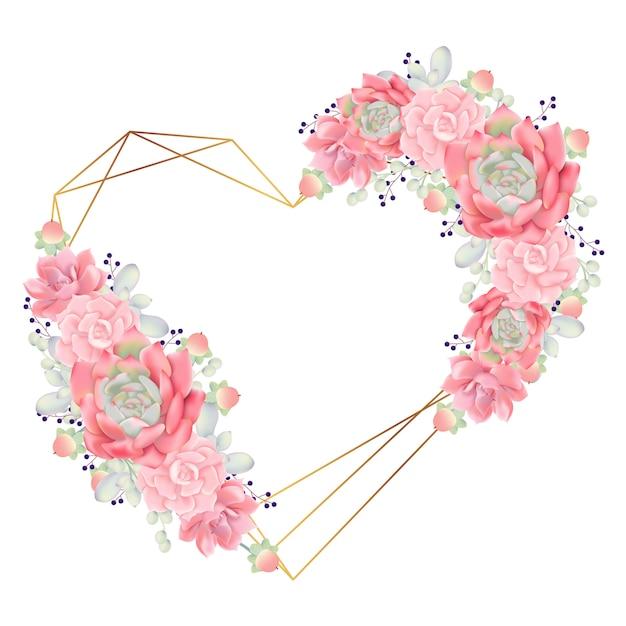 Liebe floral frame hintergrund mit sukkulenten Premium Vektoren