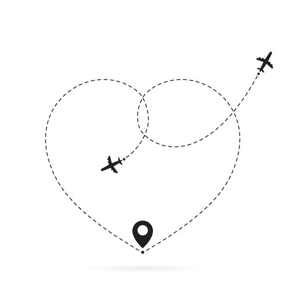 Liebe flugzeugroute. romantisches reisen, herzgestrichelte linien und flugzeugrouten. herzflugzeugweg Premium Vektoren