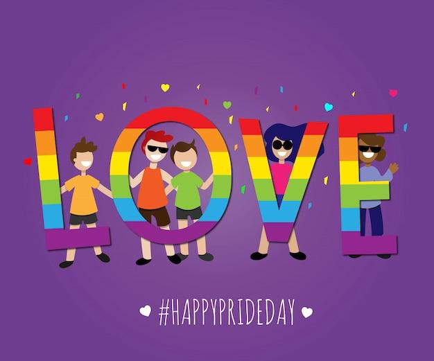 Liebe happy pride day lgbt-stolz Premium Vektoren