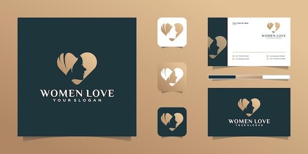 Liebe herz und schönheit frau logo und visitenkarte Premium Vektoren