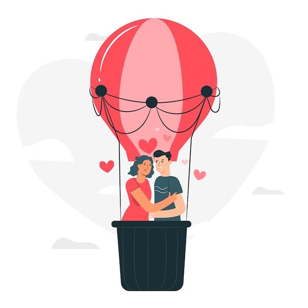 Liebe ist in der luftkonzeptillustration Kostenlosen Vektoren