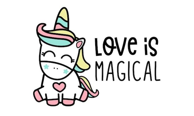 Liebe ist magisch, einhorn. Premium Vektoren