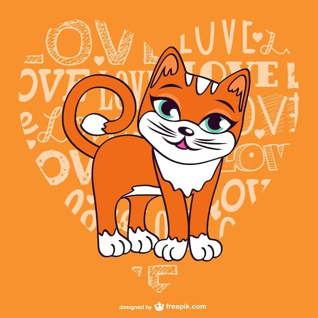 Liebe katzen vektor-illustration Kostenlosen Vektoren