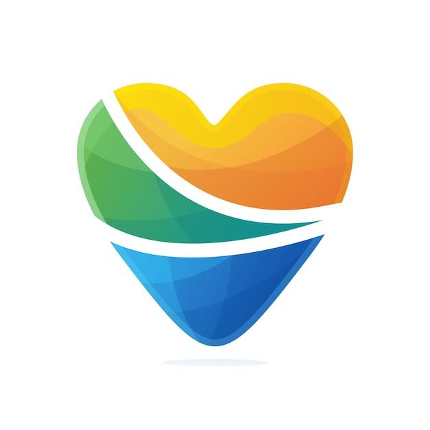 Liebe logo farbverlauf Premium Vektoren