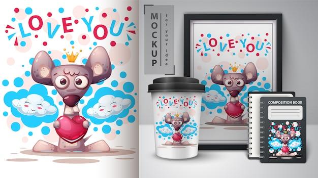 Liebe mäuseplakat und merchandising Premium Vektoren