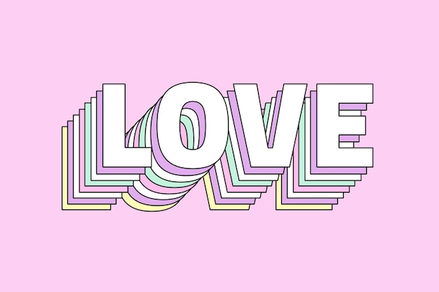 Liebe mehrschichtige retro-typografie Kostenlosen Vektoren