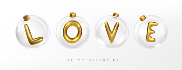 Liebe metallic gold buchstabe in klaren kristallkugel vektor-illustration Premium Vektoren