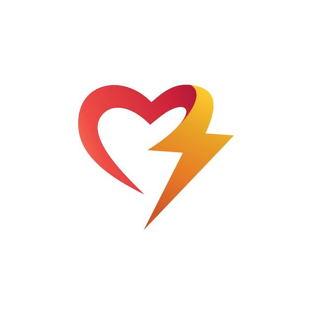 Liebe mit donner-form-logo-design Premium Vektoren
