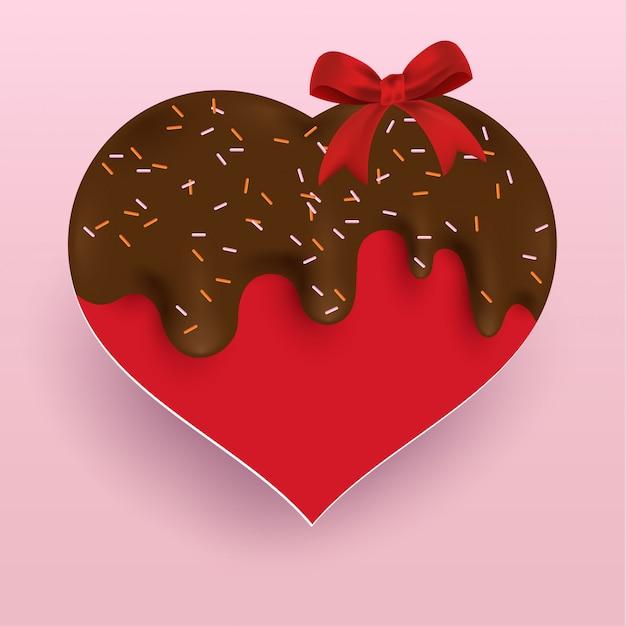 Liebe mit geschmolzener schokolade Premium Vektoren