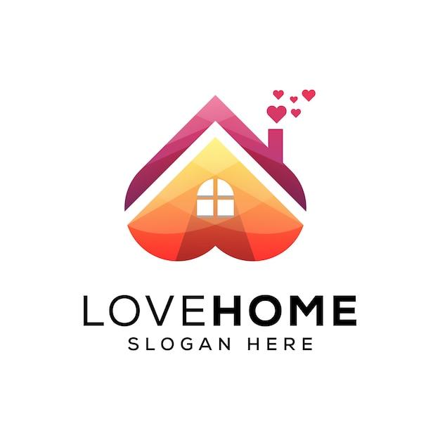 Liebe nach hause logo vorlage Premium Vektoren