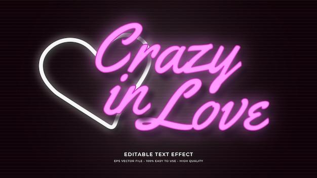 Liebe neonlicht typografie bearbeitbaren texteffekt Premium Vektoren
