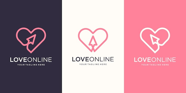 Liebe online, cursor kombiniert mit herz strichzeichnungen, logo designs vorlage Premium Vektoren