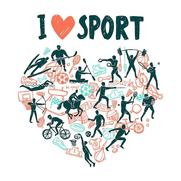 Liebe sportkonzept Kostenlosen Vektoren