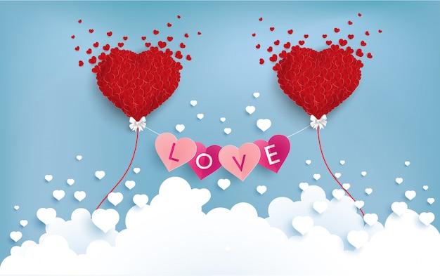 Liebe und ballon über den wolken Premium Vektoren