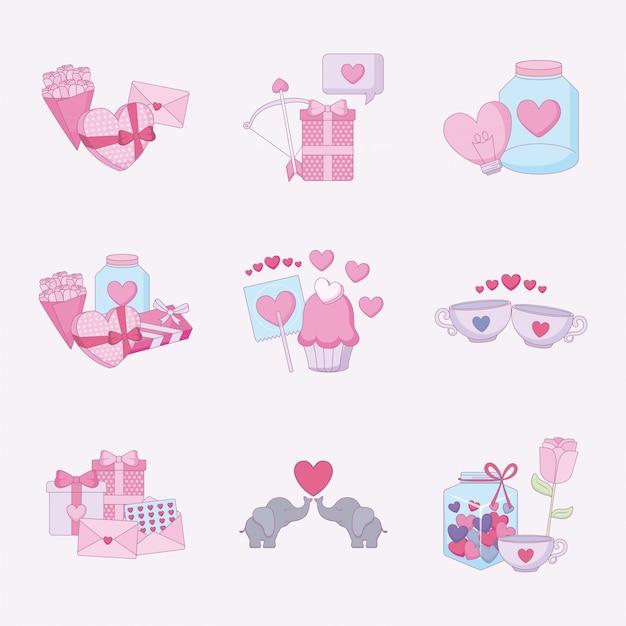 Liebe und glücklicher valentinstagikonensatz Premium Vektoren