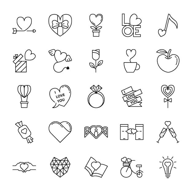 Liebe und valentine line icons set Premium Vektoren